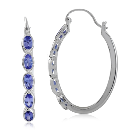 2.2ct. 5-Stone Genuine Tanzanite 925 Sterling Silver Hoop Earrings