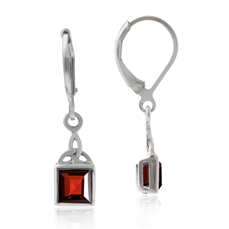 1.74ct. Natural Garnet 925 Sterling Silver Triquetra Celtic Knot Leverback Dangle Earrings