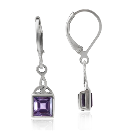 1.36ct. Natural Amethyst 925 Sterling Silver Triquetra Celtic Knot Leverback Dangle Earrings