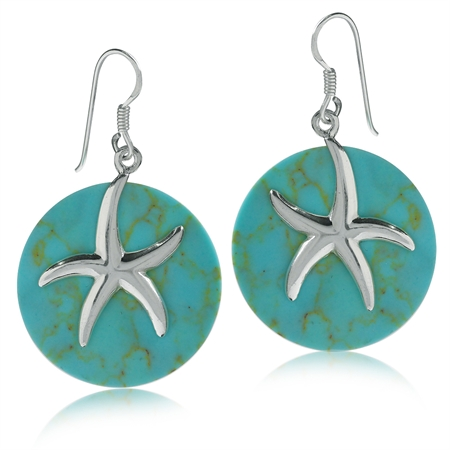925 Sterling Silver Starfish on Created Green Turquoise Circle Dangle Earrings