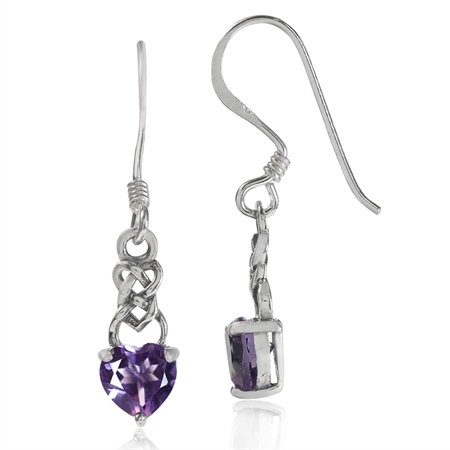 Petite Natural Heart Shape Amethyst 925 Sterling Silver Celtic Knot Dangle Hook Earrings