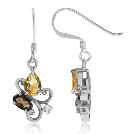 Natural Citrine, Smoky Quartz & White Topaz 925 Sterling Silver Victorian Style Dangle Earrings