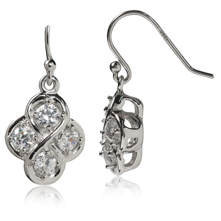 CZ White Gold Plated 925 Sterling Silver Dangle Earrings