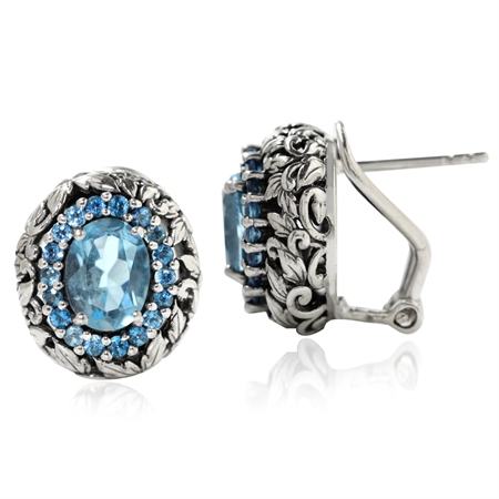 3.06ct. Genuine London Blue Topaz 925 Sterling Silver Leaf Vintage Style Omega Clip Earrings