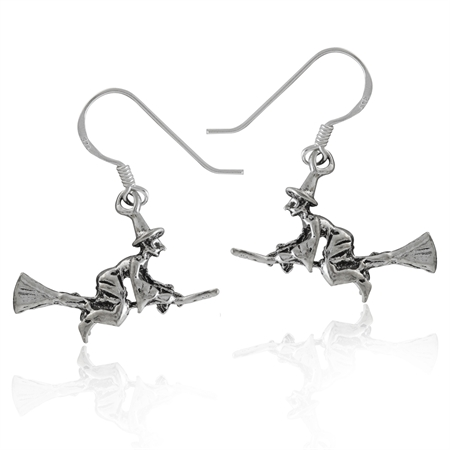925 Sterling Silver WITCH Riding Broomstick Dangle Earrings