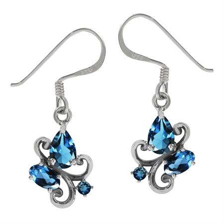 1.58ct. Genuine London Blue Topaz 925 Sterling Silver Victorian Style Dangle Hook Earrings