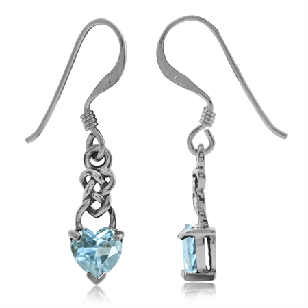 1.22ct. Petite Genuine Heart Shape Blue Topaz 925 Sterling Silver Celtie Knot Dangle Hook Earrings