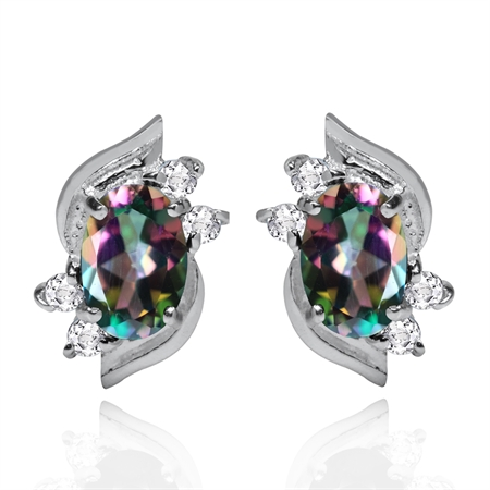 1.12ct. Petite Mystic Fire Topaz White Gold Plated 925 Sterling Silver Stud Earrings