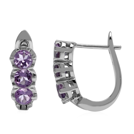 1.27ct. 3-Stone Natural Amethyst 925 Sterling Silver English Huggie/Hoop Earrings