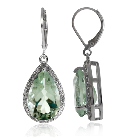 8.62ct. Natural Green Amethyst & White Topaz Gold Plated 925 Sterling Silver Drop Leverback Earrings