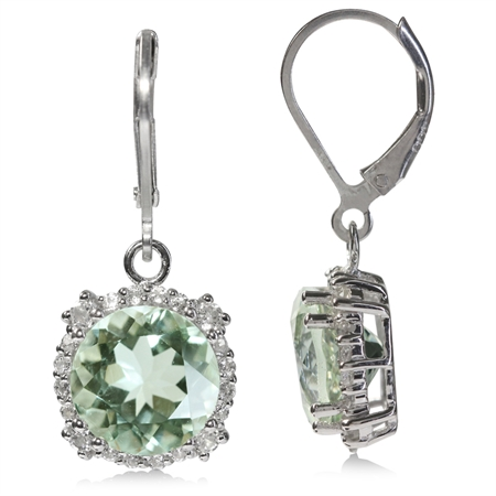 7.5ct. 10MM Natural Round Shape Green Amethyst & White Topaz 925 Sterling Silver Leverback Earrings