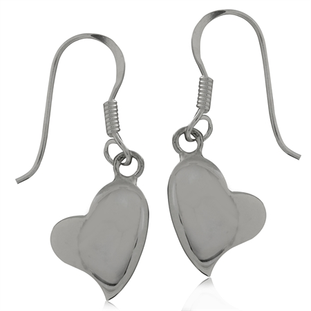 925 Sterling Silver Heart Dangle Earrings