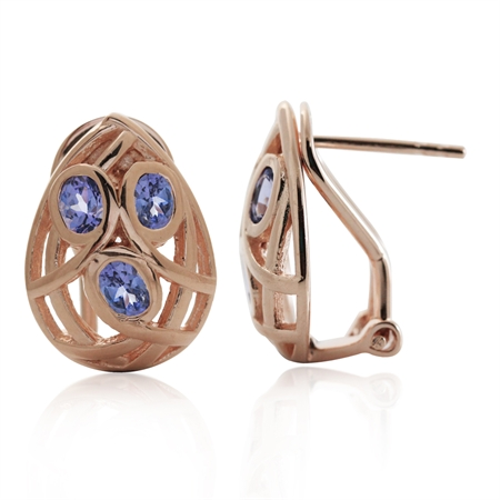Genuine Tanzanite Rose Gold Plated 925 Sterling Silver Omega Clip Earrings