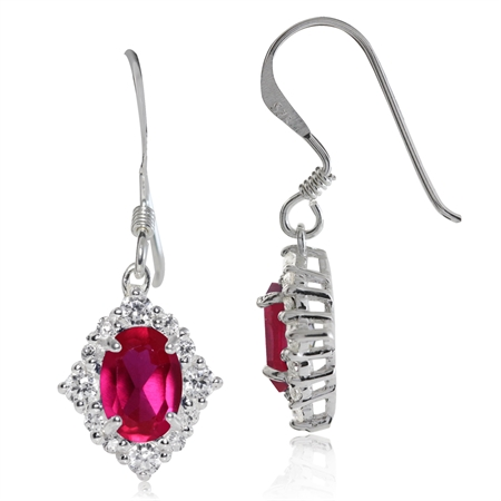 Simulated Ruby & White CZ 925 Sterling Silver Dangle Earrings