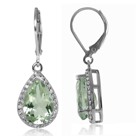 5.8ct. Green Amethyst & White Topaz Gold Plated 925 Sterling Silver Drop Dangle Leverback Earrings