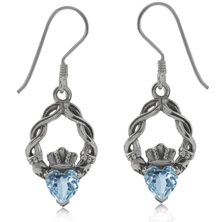 1.1ct. Genuine Heart Shape Blue Topaz 925 Sterling Silver Claddagh Dangle Earrings