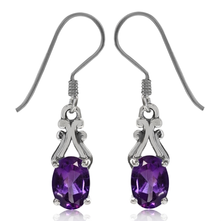 1.22ct. Natural African Amethyst 925 Sterling Silver Victorian Style Dangle Hook Earrings