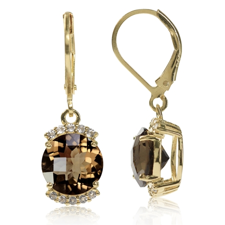 4.5ct. Natural Smoky Quartz & White Topaz 14K Gold Plated 925 Sterling Silver Leverback Earrings