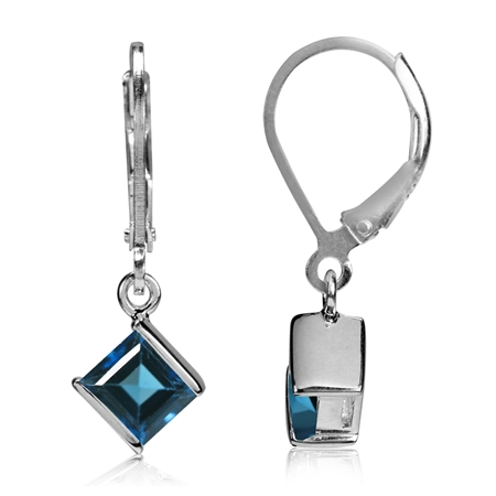 1.56ct. Genuine London Blue Topaz White Gold Plated 925 Sterling Silver Leverback Earrings