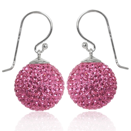 14MM Rose Pink Crystal 925 Sterling Silver Ball Dangle Earrings