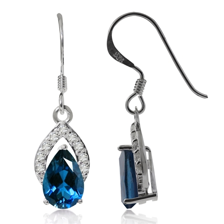 2ct. Genuine London Blue Topaz White Gold Plated 925 Sterling Silver Drop Dangle Hook Earrings