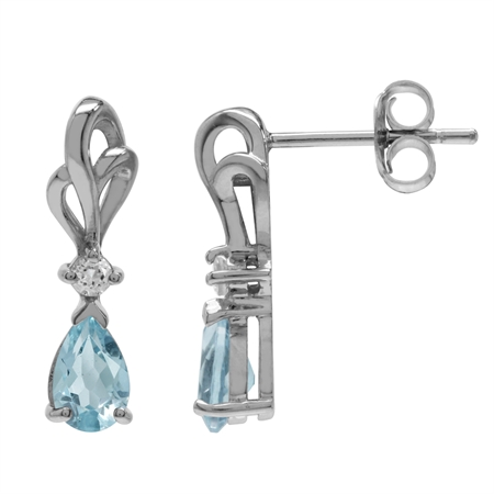 Genuine Blue & White Topaz 925 Sterling Silver Ribbon Drop Post Earrings