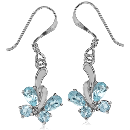 1.32ct. Genuine Blue Topaz 925 Sterling Silver Butterfly Dangle Earrings