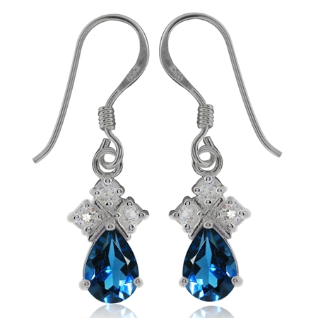 1.5ct. Genuine London Blue & White Topaz 925 Sterling Silver Drop Dangle Hook Earrings