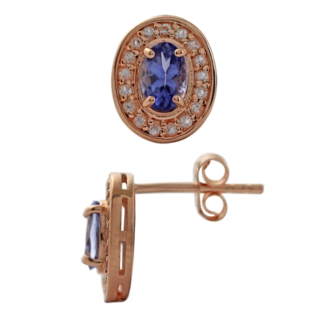 1.04ct. Genuine Tanzanite & White Topaz Rose Gold Plated 925 Sterling Silver Post Earrings