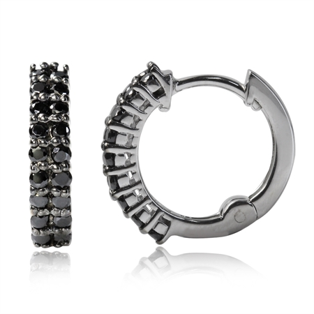Black CZ 925 Sterling Silver Journey Huggie/Hoop Earrings