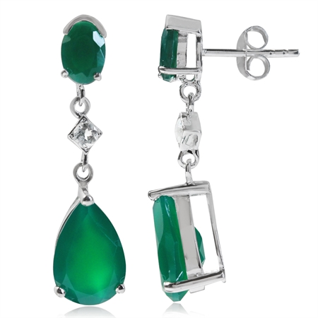 6.2ct. Natural Emerald Green Agate & White Topaz 925 Sterling Silver Drop Dangle Post Earrings