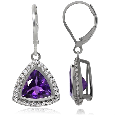 4.08ct. Natural Amethyst & Topaz White Gold Plated 925 Sterling Silver Leverback Earrings
