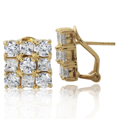 14K Gold Plated 925 Sterling Silver Omega Clip CZ Earrings