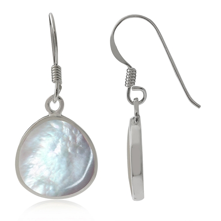 White Mother of Pearl (MOP) Inlay 925 Sterling Silver Drop Dangle Hook Earrings