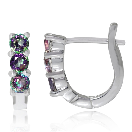 3-Stone Mystic Fire Topaz 925 Sterling Silver English Huggie/Hoop Earrings