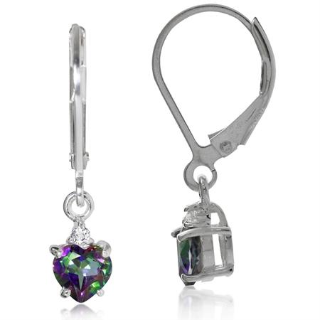 1.08ct. 5MM Petite Heart Shape Mystic Fire Topaz 925 Sterling Silver Leverback Dangle Earrings