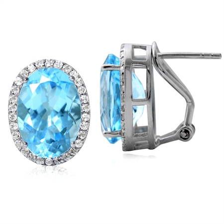 16.58ct. Genuine Blue Topaz White Gold Plated 925 Sterling Silver Omega Clip Earrings