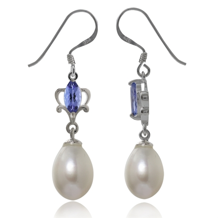 Cultured White Pearl & Tanzanite 925 Sterling Silver Dangle Earrings