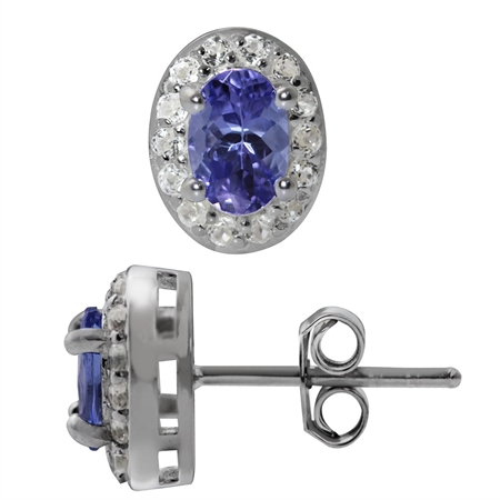 1.01ct. Genuine Tanzanite & White Topaz Gold Plated 925 Sterling Silver Stud Earrings