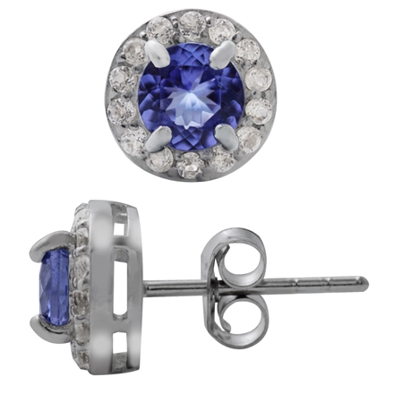 1.02ct. Genuine Tanzanite & White Topaz Gold Plated 925 Sterling Silver Stud Earrings
