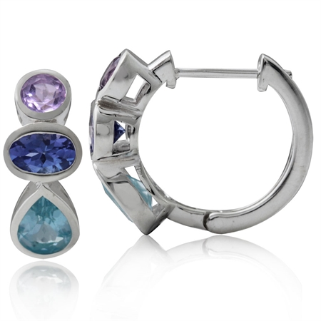 Genuine Blue Topaz, Tanzanite & Amethyst 925 Sterling Silver Huggie/Hoop Earrings