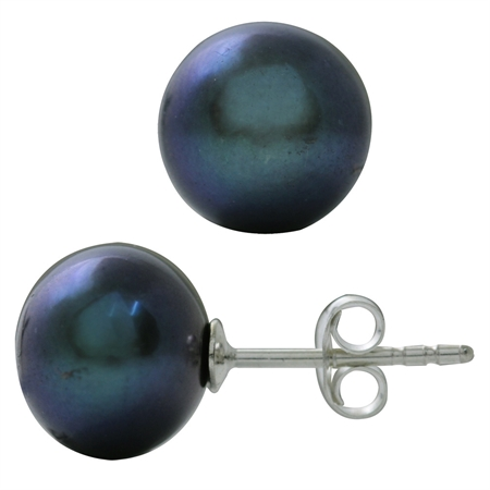 10MM Cultured Black Pearl 925 Sterling Silver Stud Earrings