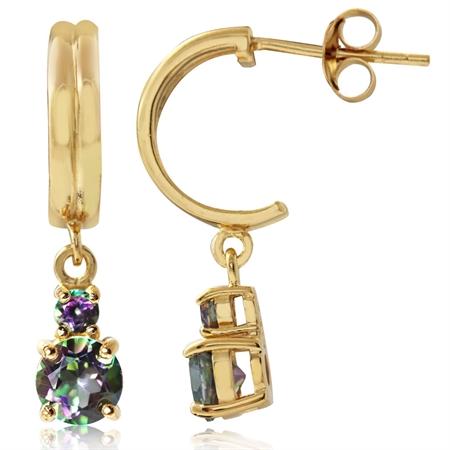 1.66ct. Mystic Fire Topaz 14K Gold Plated 925 Sterling Silver C-Hoop Dangle Earrings
