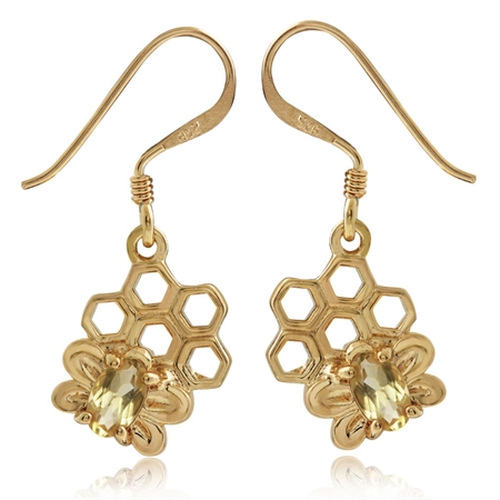 Natural Citrine 14K Gold Plated 925 Sterling Silver Honeycomb Bee Dangle Hook Earrings