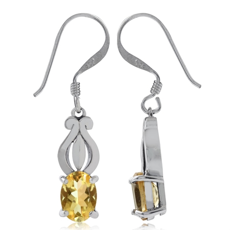 1.46ct. Natural Citrine 925 Sterling Silver Dangle Earrings