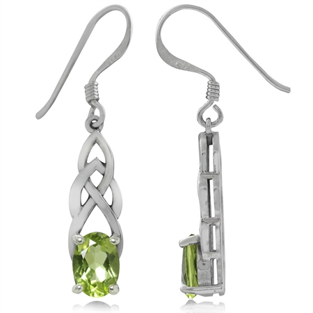 1.84ct. Natural Peridot 925 Sterling Silver Celtic Knot Dangle Hook Earrings