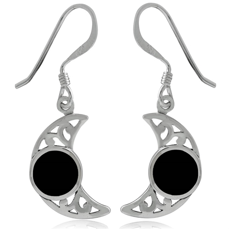 Created Black Onyx Inlay 925 Sterling Silver Filigree Moon Dangle Earrings
