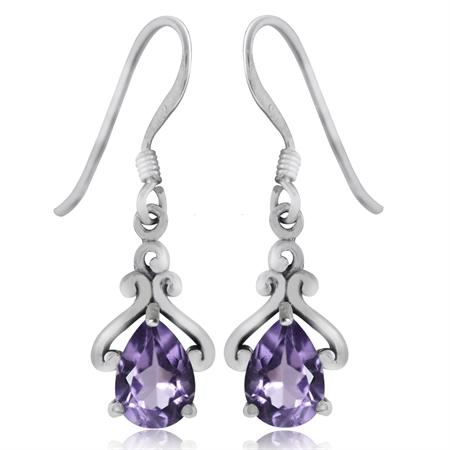 1.32ct. Natural Amethyst 925 Sterling Silver Drop Dangle Earrings