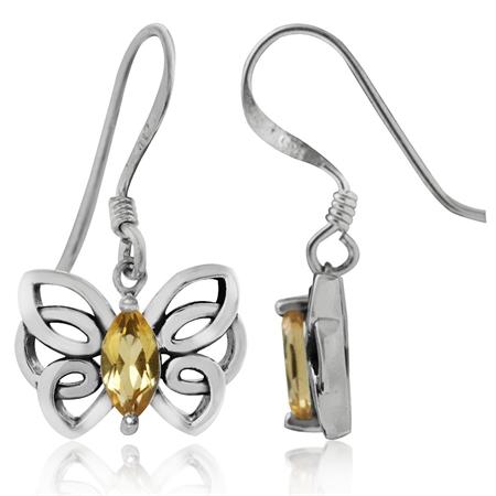 Natural Citrine 925 Sterling Silver Butterfly Dangle Hook Earrings