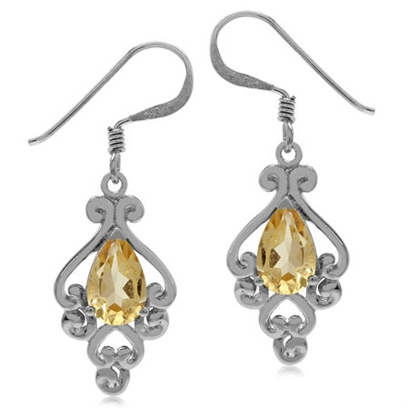 1.62ct. Natural Citrine 925 Sterling Silver Victorian Style Dangle Hook Earrings